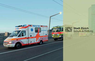 emergency cars crossing bridge