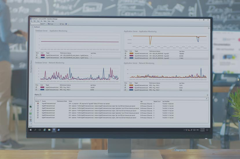 microsoft scom dashboard showing graphs and alerts in a screen on a desk